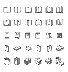 Book thin line icons vector image