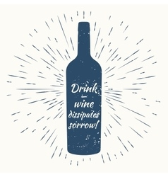 bottle of wine and vintage sun burst frame Wine vector image