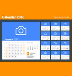 calendar for 2018 year week starts on sunday set vector image