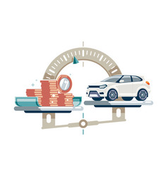 car cost on scales vector image