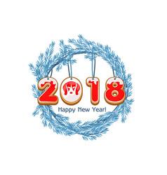 cartoon blue wreath spruce happy new year cookie vector image