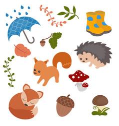 Cartoon characters and autumn elements cartoon vector