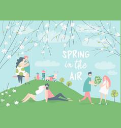 Cartoon happy couples in love in spring garden vector