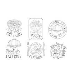Catering food and drink service hand drawn retro vector
