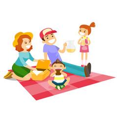 Caucasian white family having a picnic in the park vector