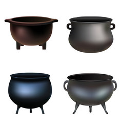 cauldron pot halloween mockup set realistic style vector image