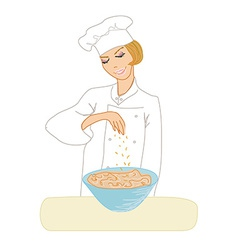 Chef woman cooking soup vector image