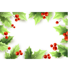 Christmas mistletoe green leaves and red berries vector