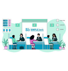 clients being served multiracial bank staff vector image