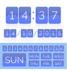 Colored flat calendar with week days and flip vector