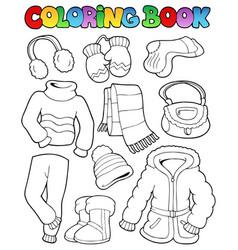 Coloring book winter apparel 1 vector