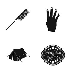 Comb fingers and other web icon in black style vector