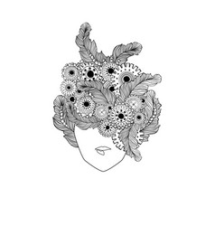 Concept art with stylized ladies hair and feathers vector