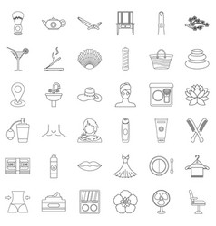 cosmetic icons set outline style vector image