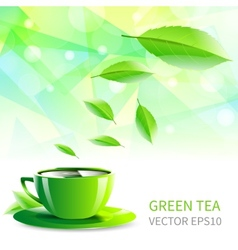 cup tea falling leaves vector image