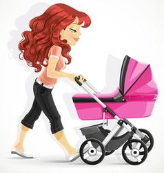 Cute mother with a pink pram on walk vector