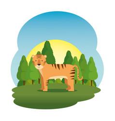 cute tiger in the field scene vector image