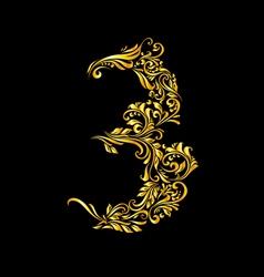 Decorated three digit on black vector