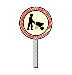 Doodle circle caution emblem and laborer vector