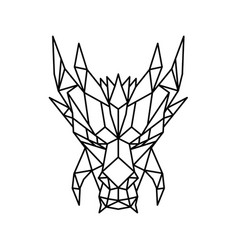 Dragon head front low poly black and white vector