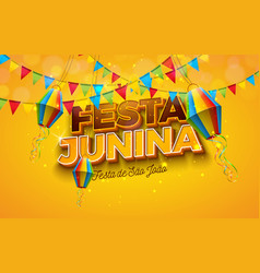 Festa junina with party flags paper vector