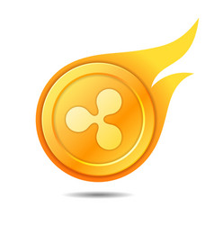 flaming ripple coin symbol icon sign emblem vector image