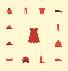 Flat icons casual fedora boots and other vector