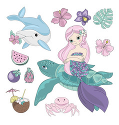 flying mermaid sea animals underwater vector image