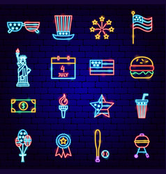 Fourth july neon icons vector