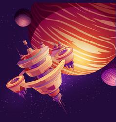 futuristic starship space station cartoon vector image