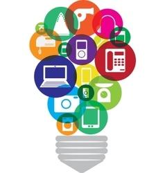 Gadgets inside lamp vector image