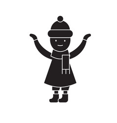 Girl with a scarf in winter black concept vector