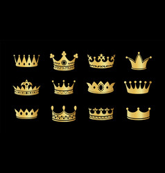 gold crown silhouette icon set collections vector image