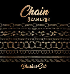golden chains ink pen seamless pattern include vector image