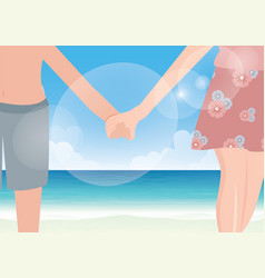 Happy couple holding hands on sea background vector