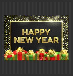 happy new year christmas card gift box ribbon vector image