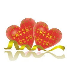 hearts and gold strip vector image