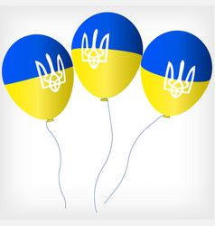 helium balls with symbols of the ukrainian flag vector image