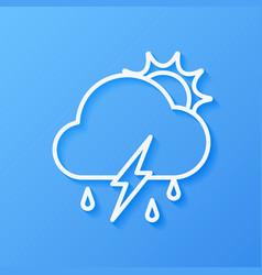 Icon weather sun cloud rain with lightning vector