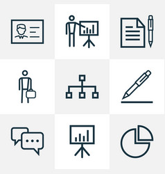 Job outline icons set collection of business vector