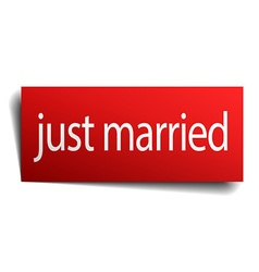 Just married red square isolated paper sign on vector