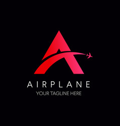 Letter a logo with airplane symbol travel logo vector