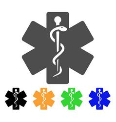 Life star medical emblem flat icon vector