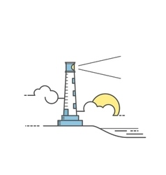 Lighthouse Line art style vector image