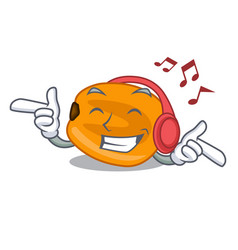 Listening music eat corn nuts in cartoon shape vector