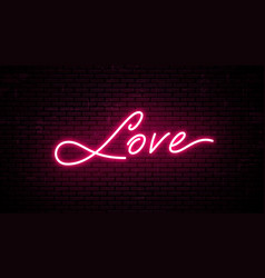 love red neon inscription vector image