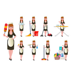 Maid cleaning lady cleaning woman vector