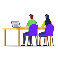Man and woman with laptop studying or working vector
