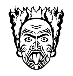 maori traditional mask vector image