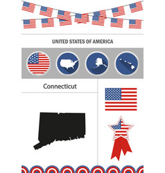 map of connecticut set of flat design icons vector image